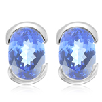 1.50 Cts of 7x5 mm AA Oval Tanzanite Stud Earrings in 14K White Gold