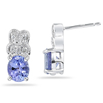 0.10 Cts Diamond & 1.08-1.50 Cts Tanzanite Earrings in 14K White Gold