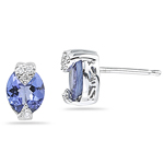 0.04 Cts Diamond & 1.38 Cts Tanzanite Earrings in 14K White Gold