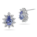 0.40 Ct Diamond & 0.68 Ct Tanzanite Cluster Earrings in 14K White Gold