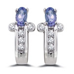 0.20 Ct Diamond & 0.55 Ct 5x3 mm AA Oval Tanzanite Earrings- 14KW Gold
