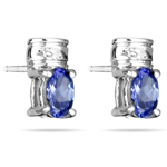 0.02 Cts Diamond & 0.54 Cts Tanzanite Earrings in 14K White Gold