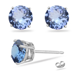 1.08 Cts of 5 mm AA Round Tanzanite Stud Earrings in 14K White Gold