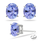 0.95 Cts of 6x4 mm AA Oval Tanzanite Stud Earrings in 14K White Gold