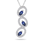 0.60 Ct Diamond & 0.70 Cts Tanzanite Pendant in 14K White Gold