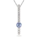 0.12 Cts Diamond & 0.40 Cts Tanzanite Pendant in 14K White Gold