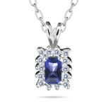 0.14 Cts Diamond and 0.33 Cts Tanzantine Pendant in 14K White Gold