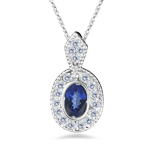 0.18 Cts Diamond and 0.27 Cts Tanzantine Pendant in 14K White Gold - Christmas Sale