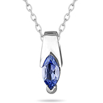 1/2 Cts AA Marquise Tanzantine Pendant in 14K White Gold