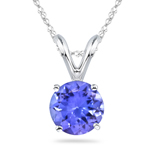 1/2 Cts of 5 mm AA Round Tanzanite Solitaire Pendant in 14K White Gold