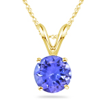 1/2 Cts of 5 mm AA Round Tanzanite Solitaire Pendant in 18K Yellow Gold
