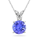 0.46-0.61 Cts of 5 mm AA Round Tanzanite Scroll Solitaire Pendant in Platinum