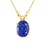 0.73-1.11 Cts of 7x5 mm AAA Oval Tanzanite Solitaire Pendant in 14K Yellow Gold