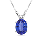 3/4 Cts of 7x5 mm AA Oval Tanzanite Solitaire Pendant in 18K White Gold