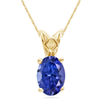 3/4 Cts of 7x5 mm AAA Oval Tanzanite Scroll Solitaire Pendant in 14K Yellow Gold