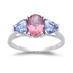 2.20 Cts Pink Tourmaline & Tanzanite Three Stone Ring - 14K White Gold