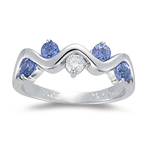 Tanzanite Ring - 1/10 Ct Diamond & AA Tanzanite Ring in 14K Gold