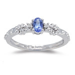 0.02 Cts Diamond & 0.23 Cts of 5x3 Oval AA Tanzanite Ring in 14K Gold