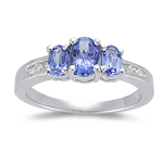 Tanzanite Ring - 0.12 Ct Diamond & 1 Ct AA Tanzanite Ring in 14K Gold