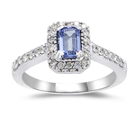 0.42 Cts Diamond & 0.60 Cts Tanzanite Ring in 14K White Gold