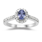 0.50 Cts Diamond & AA Tanzanite Cluster Bamboo-Style Ring in 14K Gold