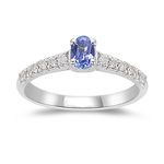 0.18 Cts Diamond & 0.23 Cts Tanzanite Ring in 14K White Gold