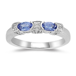 0.12 Cts Diamond & 0.46 Cts Tanzanite Ring in 14K White Gold