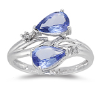 Tanzanite Ring - 0.04 Ct Diamond & Tanzanite Ring in 14K Gold
