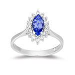 Tanzanite Ring - 0.16 Ct Diamond & Tanzanite Ring in 14K White Gold
