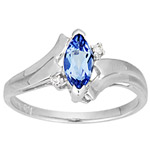 0.02 Ct Diamond & 0.48 Ct 8x4mm Marquise AA Tanzanite Ring in 14K Gold