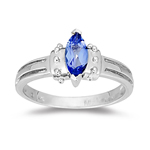 0.53 Cts of 9x5 mm AA Marquise Tanzanite Ring in 14K White Gold - Christmas Sale