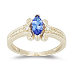 Tanzanite Ring - 0.06 Ct Diamond & Tanzanite Ring in 14K Gold