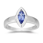 0.53 Ct 10x5 mm AA Marquise Tanzanite Solitaire Ring in 14K White Gold