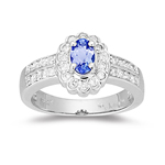 1/3 Cts Diamond & 0.42 Cts Tanzanite Ring in 14K White Gold