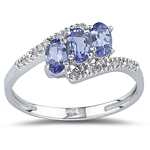 0.05 Cts Diamond & 0.60-0.87 Cts Tanzanite Ring in 14K White Gold