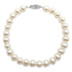 5.0 mm Fresh Water Pearl Bracelet in 14K White Gold