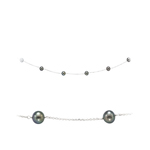 Black Pearls By The Yard Necklace in 14K White Gold