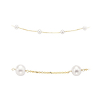 White Pearls By The Yard Necklace in 14K Yellow Gold