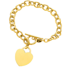 Heart-Tag Toggle Bracelet in 14K Yellow Gold
