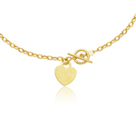 Heart-Tag Toggle Necklace in 14K Yellow Gold