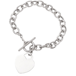 Heart-Tag Toggle Bracelet in 14K White Gold