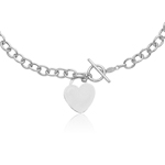 Heart-Tag Toggle Necklace in 14K White Gold