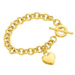 Puffed Heart-Tag Toggle Bracelet in 14K Yellow Gold