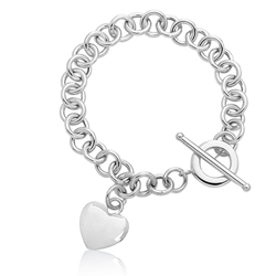 Puffed Heart Tag Toggle Bracelet in 14K White Gold