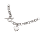 Puffed Heart-Tag Toggle Necklace in 14K White Gold