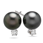 Diamond and Tahitian Pearl Earrings in 18K White Gold