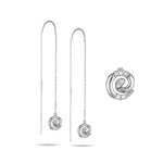 Threader Earrings - 0.07 Cts Diamond Threader Earrings in 14K White Gold