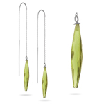 Threader Earrings - Olive Quartz Threader Earrings in 14K White Gold