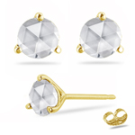1.00 Ct SI2 quality Round Rose Cut Diamond Stud Earrings in 18K Yellow Gold