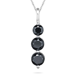 2.50 Cts Black Diamond Three Stone Pendant in 14K White Gold